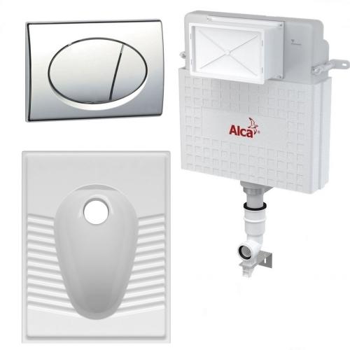 Комплект: Бачок AlcaPlast AM112 +кнопка хром + Чаша генуя Volle 13-00-195