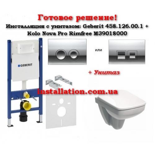 Инсталляции с унитазом: Geberit 458.126.00.1+ Кнопка+Kolo Nova Pro Rimfree M39018000 + Кнопка