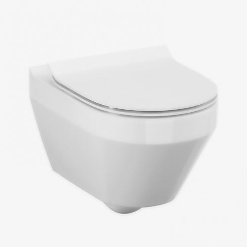 Унитаз подвесной Cersanit Crea Clean On с сиденьем slim (CCHZ1001331986+CSSD1003783434)