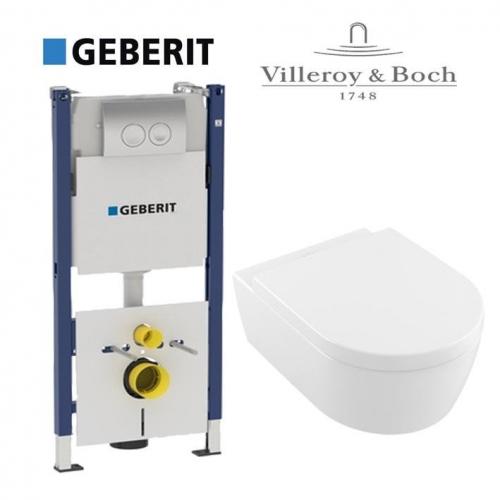 Инсталляция с Унитазом: Geberit 458.126.00.1 + Villeroy & Boch Avento 5656HR01