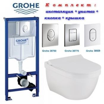 Инсталляция + унитаз: Grohe Rapid SL 38721001 + унитазом Volle Solar Rimless 13-93-363