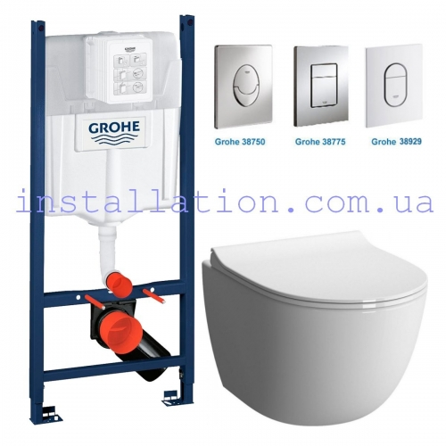 Инсталляция Grohe Rapid SL 3in1 38840000+ унитаз Koller Pool Round Rimless (RN-0520-RW) сидение Duroplast, Soft-close