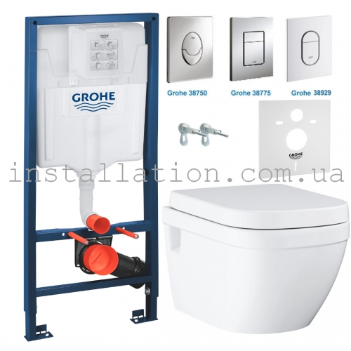 Инсталляция Grohe Rapid SL 38772001+ Унитаз Grohe Euro Ceramic 3953800L с сидением Slow closing