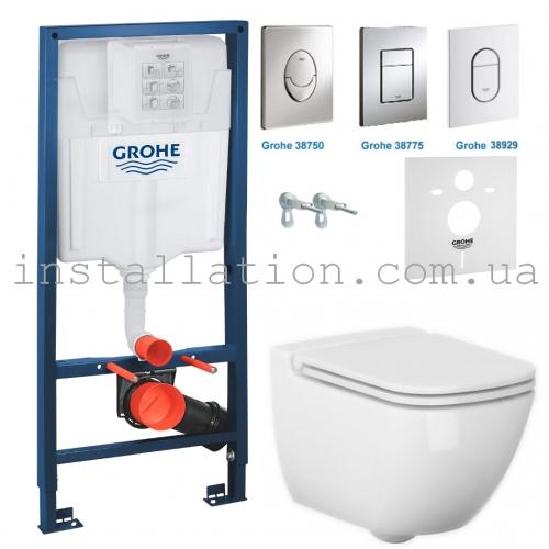 Инсталляция + унитаз: Grohe Rapid SL 38721001+Cersanit Caspia Clean On (SZCZ1001671773)