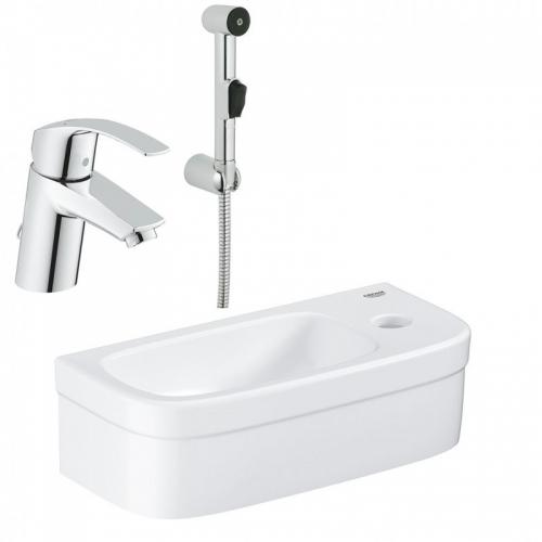 Смеситель с гигиеническим душем Grohe Eurosmart 23124002 +Раковина Grohe Euro Ceramic (39327000)