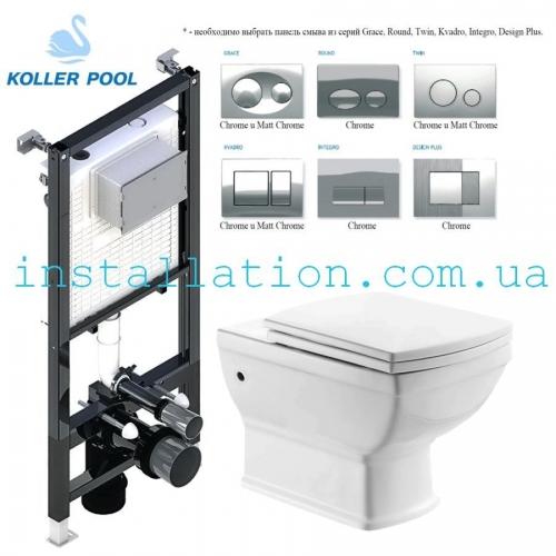 Инсталляция 3в1 Koller Pool Alcora ST1200 + Унитаз Devit Retro 3020127 с сиденьем, soft-close