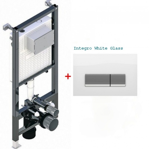 Инсталляция для унитаза Koller Pool Alcora ST1200 + клавиша смыва Integro White Glass