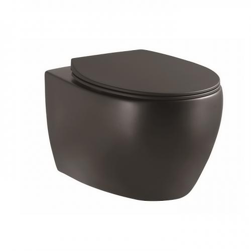 Унитаз подвесной Devit Acqua 3020155B безободковый quick-fix, soft-close, черный матовый
