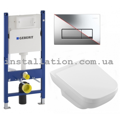 Комплект Инсталляция с унитазом, Geberit Duofix 458.126.00.1 + Villeroy&Boch Joyce 5607R201