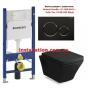 Инсталляция с унитазом: Geberit Duofix 111.300.00.5 + Volle Teo 13-88-422 Black с крышкой