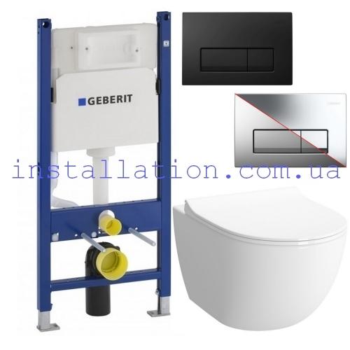 Инсталляция Geberit Duofix 458.126.00.1+унитаз Koller Pool Round Rimless (RN-0520-RW) сидение Duroplast, Soft-close