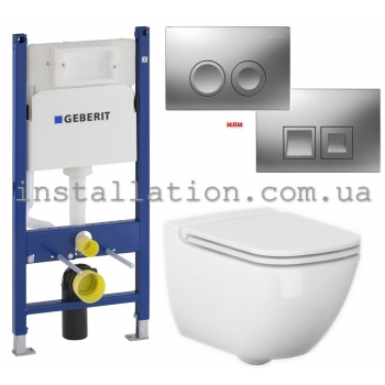Инсталляция 3 в 1 Geberit Duofix 3в1 (458.126.00.1) + унитаз Cersanit Caspia Clean On (SZCZ1001671773)