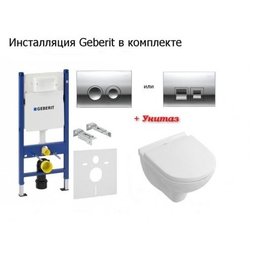 Инсталляция + унитаз: Geberit Duofix (458.126.00.1) + Villeroy&Boch O.novo DirectFlush 5660HR01