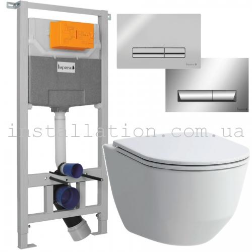 Инсталляция Imprese 3в1 i5220 с кнопкой + унитаз Laufen Pro Rimless H8669570000001 с сиденьем Slim
