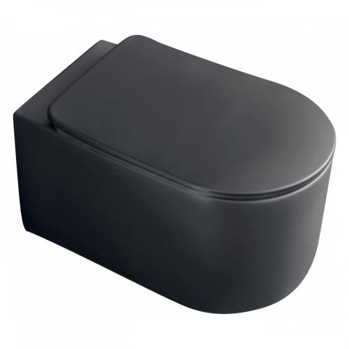 Унитаз подвесной безободковый Kerasan Nolita 5314 31 а сиденье, черный матовый