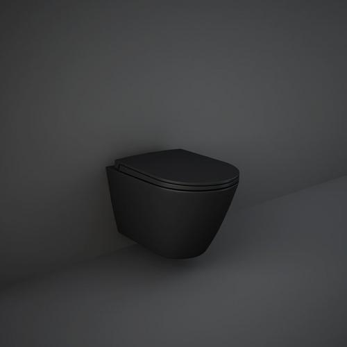 Унитаз подвесной Rak Ceramics Feeling Rimless RST23504A+ Крышка RSTSC3901504 SLIM, Soft Close (черный матовый)