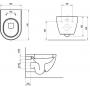 Унитаз подвесной RAVAK Uni Chrome X01516+Сиденье для унитаза X01549